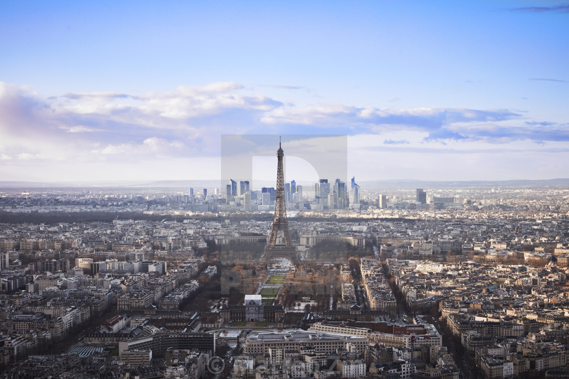"""""""Eiffel Tower, Paris aerial view with sunny sky"""" stock image"""