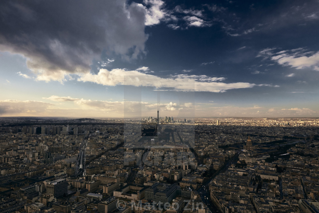 """Eiffel Tower, Paris aerial view with dramatic sky"" stock image"