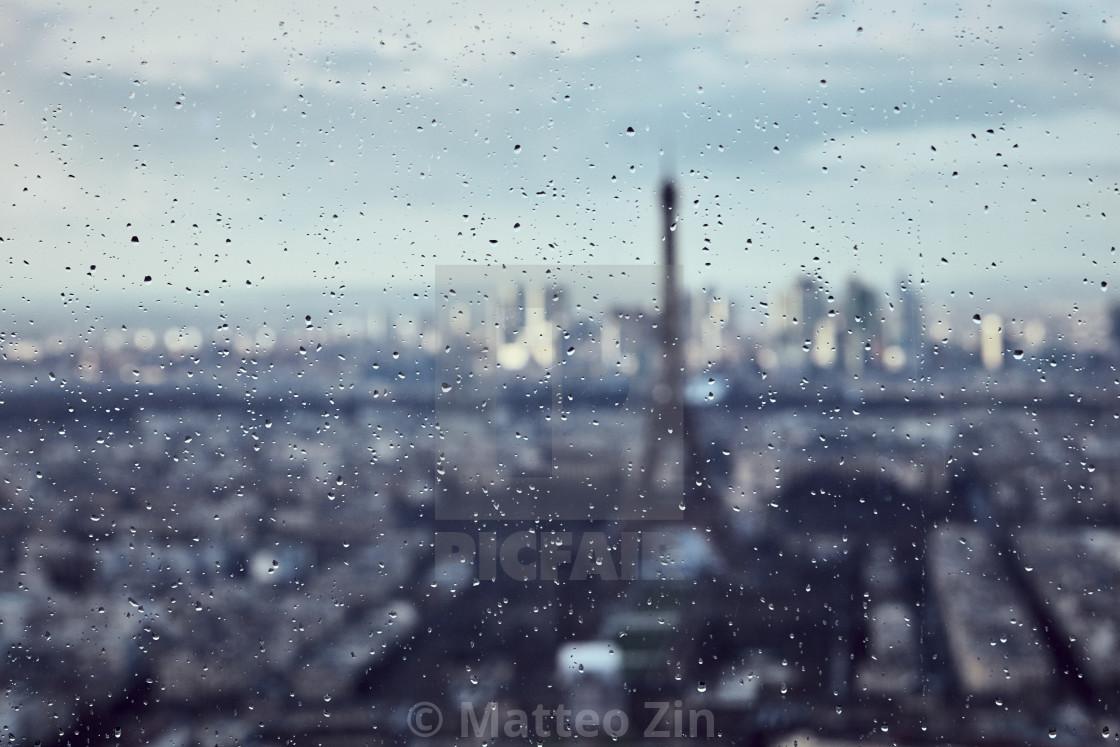 """Rain over Tour Eiffel blurred"" stock image"