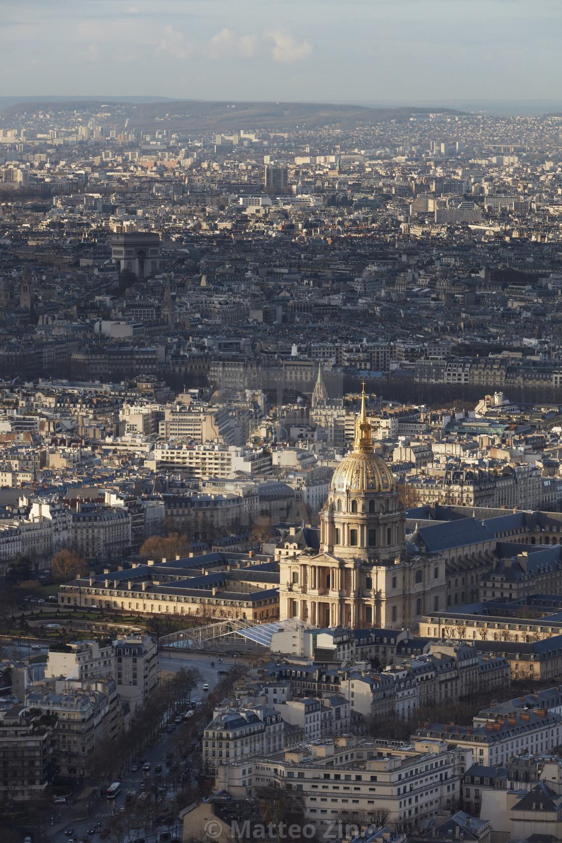 """Paris aerial view of Pantheon"" stock image"