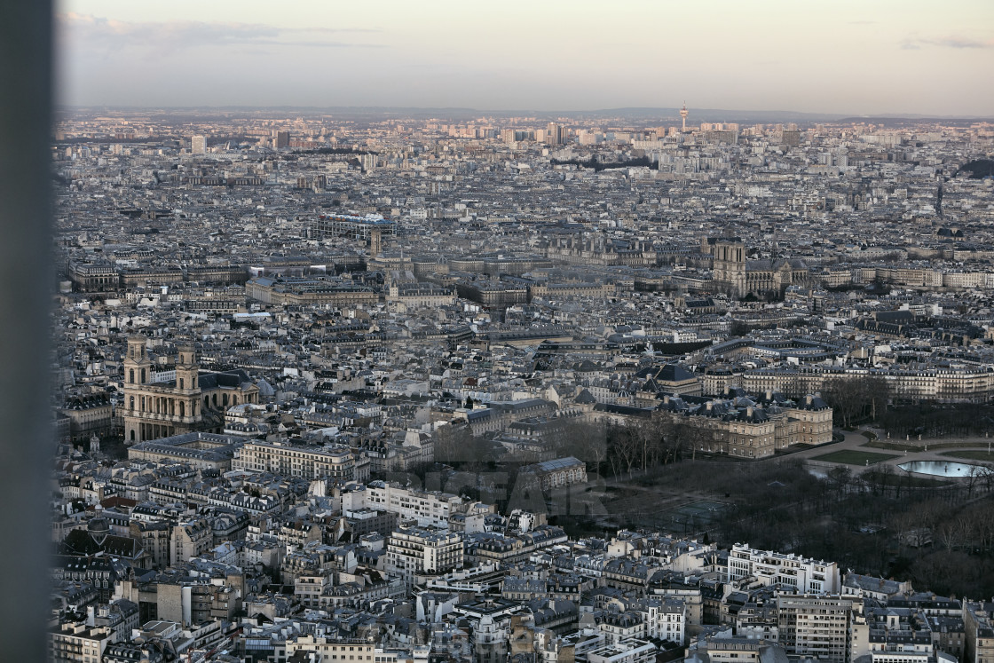 """Paris aerial view"" stock image"