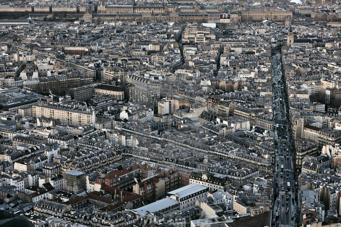 """Paris aerial view"" stock image"
