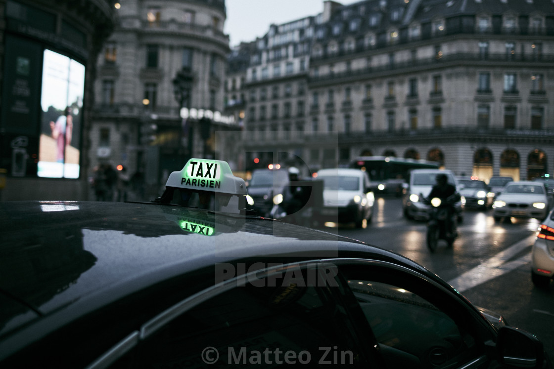 """""""Taxi Paris in the night"""" stock image"""