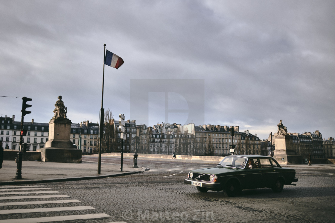 """Paris vintage shot with old car"" stock image"