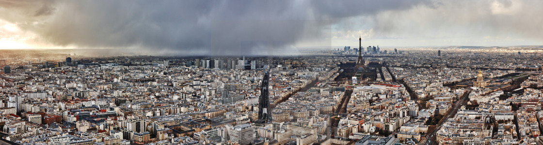 """Tour Eiffel aerial view landscape panorama"" stock image"