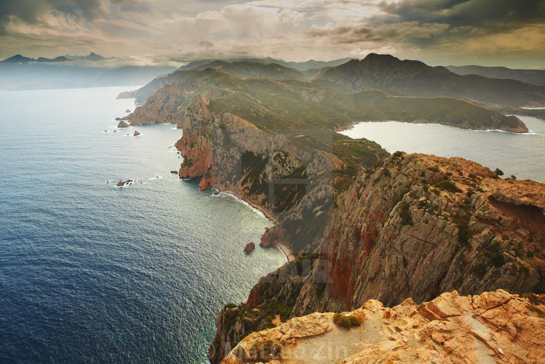 """Tour de Turghio, Corse aerial view on sunset"" stock image"