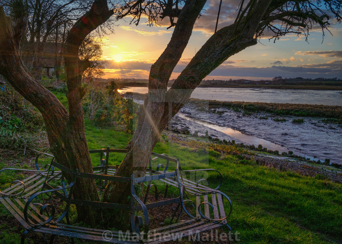 """""""Sunset Bench At Landermere Quay"""" stock image"""