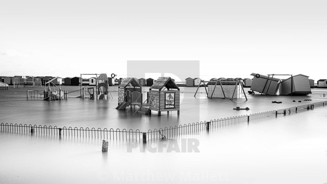 """Brightlingsea Playpark Floods"" stock image"