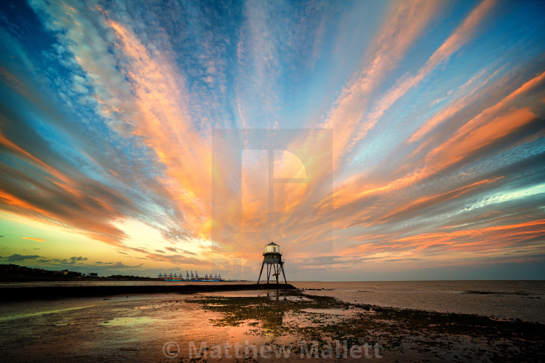 """Sunset Towards The Dovercourt Low Light"" stock image"