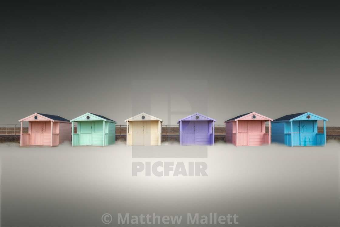 """Clacton Pastel Beach Huts"" stock image"