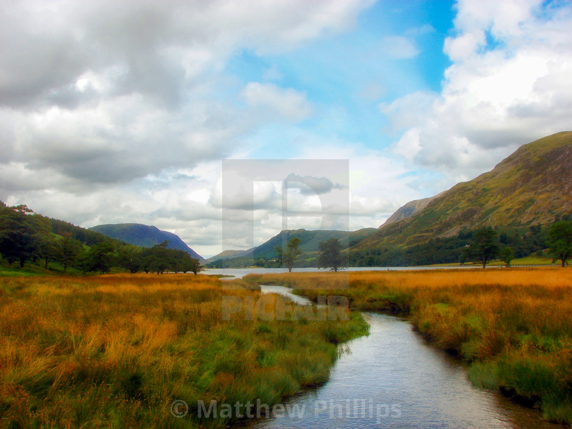 """Lake District Stream Landscape - Buttermere, Cumbria"" stock image"
