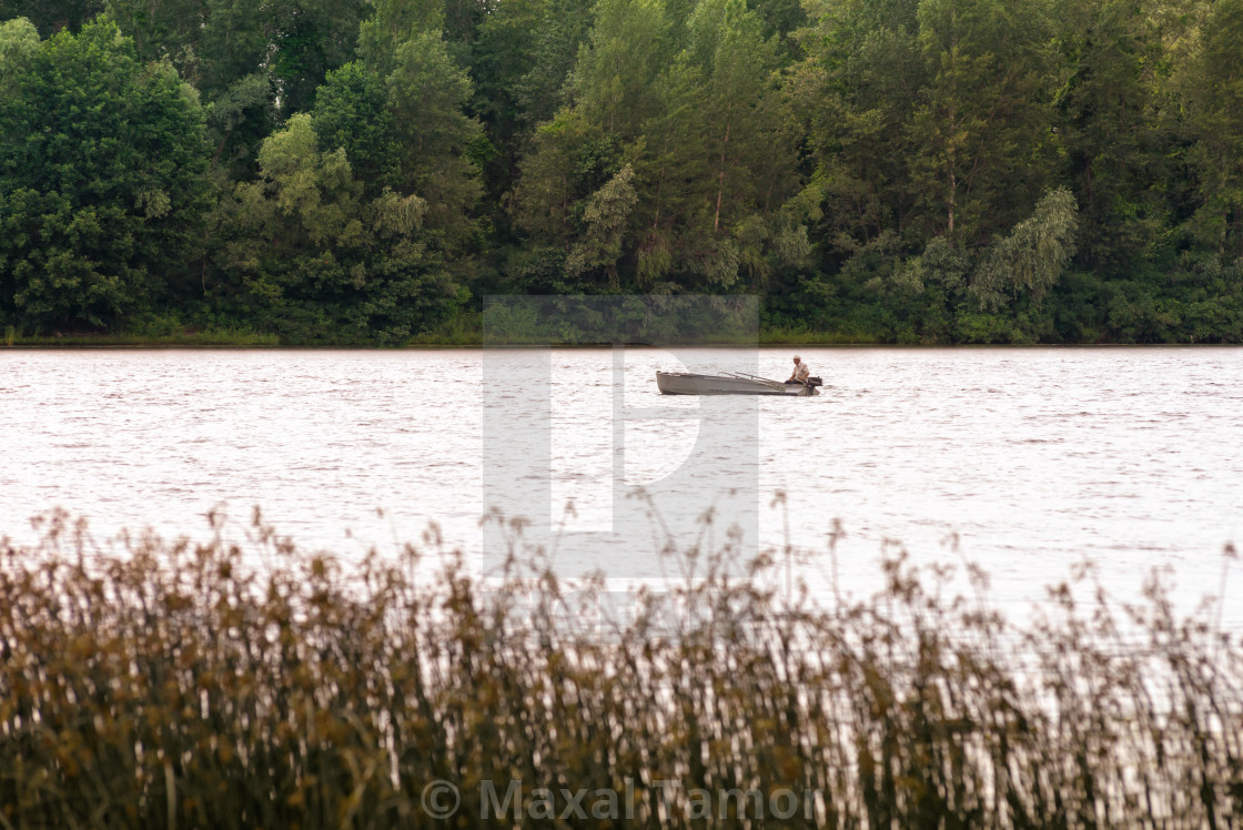 """Fisherman on the Dnieper River"" stock image"