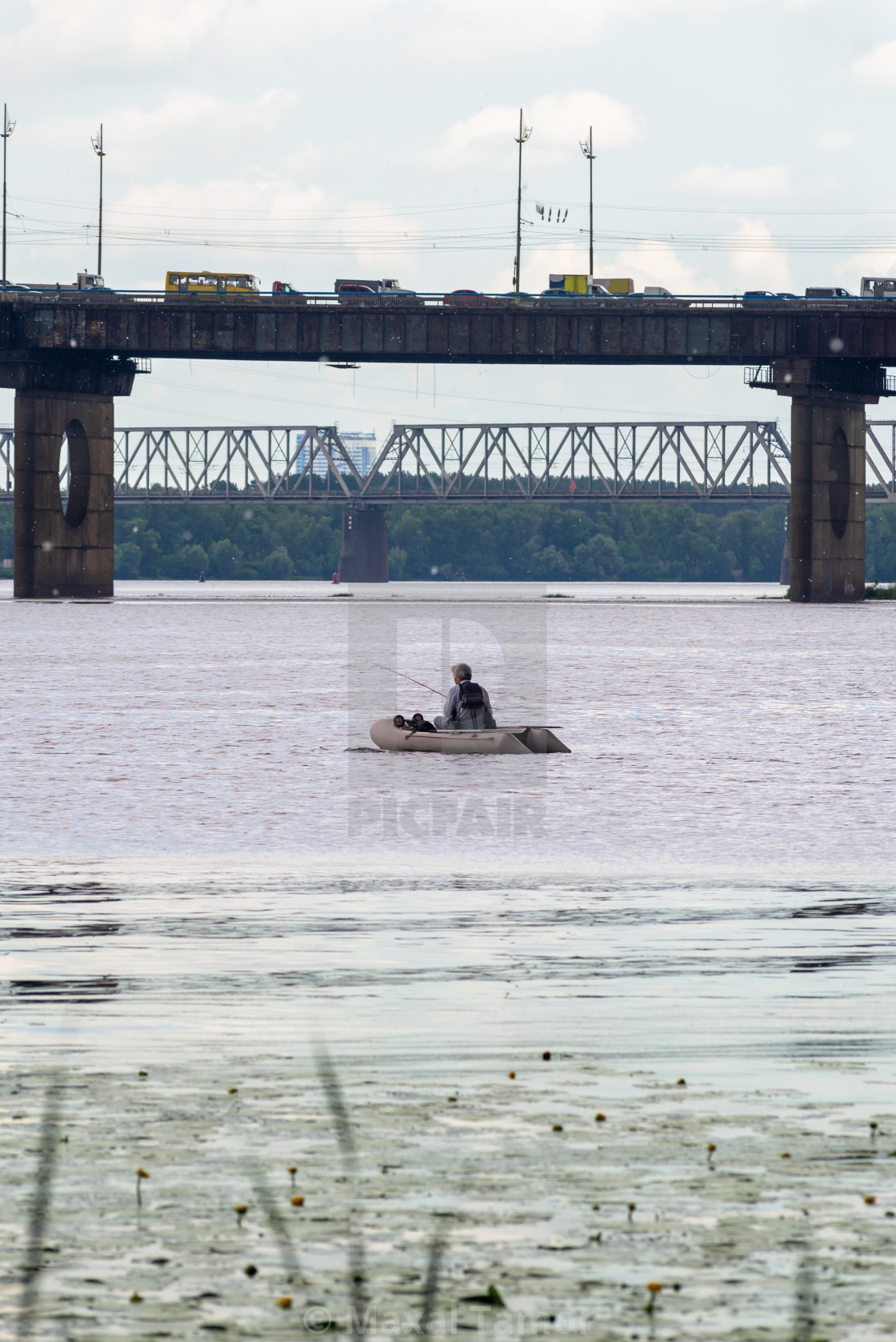 """""""Fisherman on the Dnieper River"""" stock image"""