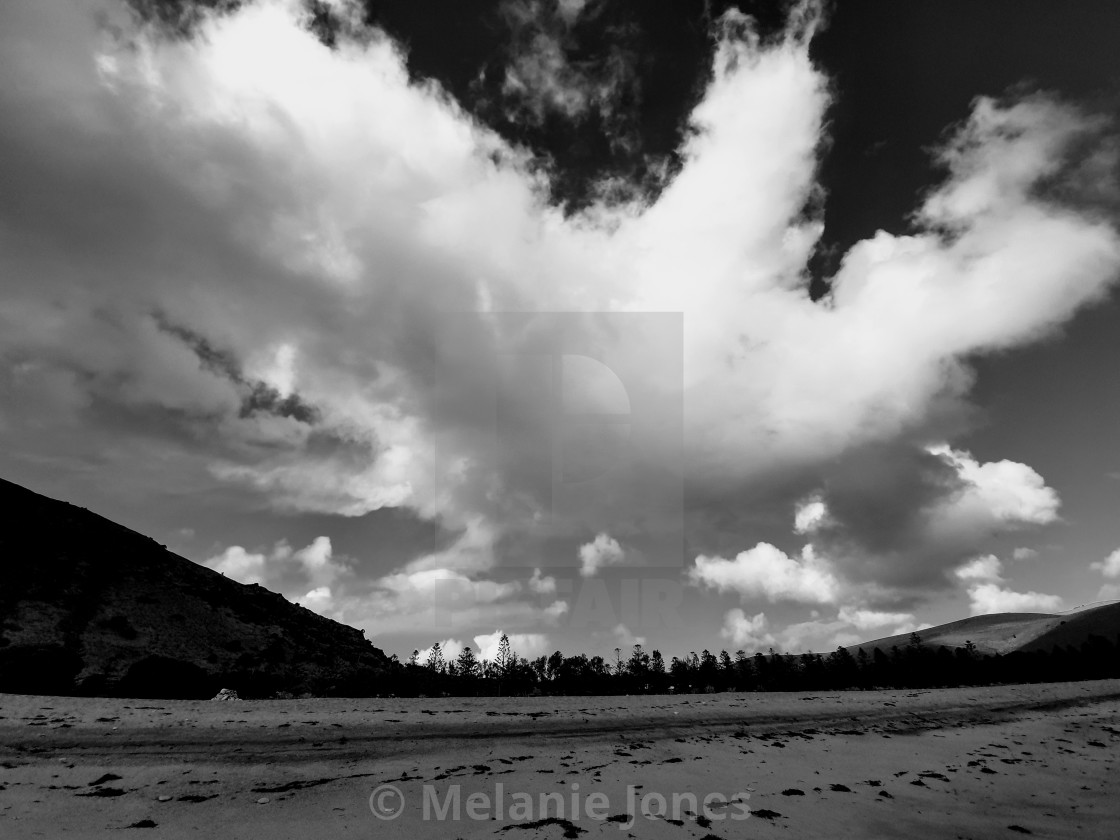 """""""Black and whit cloud over Rapid Bay"""" stock image"""