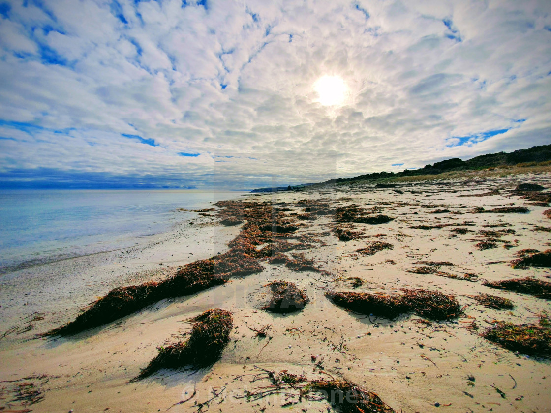 """""""Cloudy day at Normanville Beach"""" stock image"""