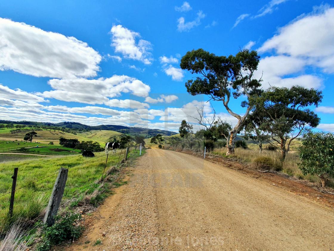 """Country dirt road Fleurieu Peninsula SA"" stock image"