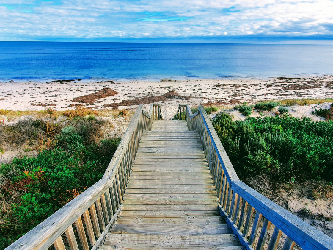 """Stairway leading onto Normanville Beach"" stock image"