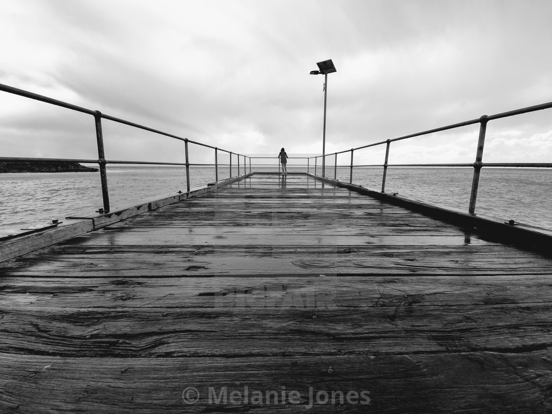 """""""Black and white Second Valley jetty"""" stock image"""