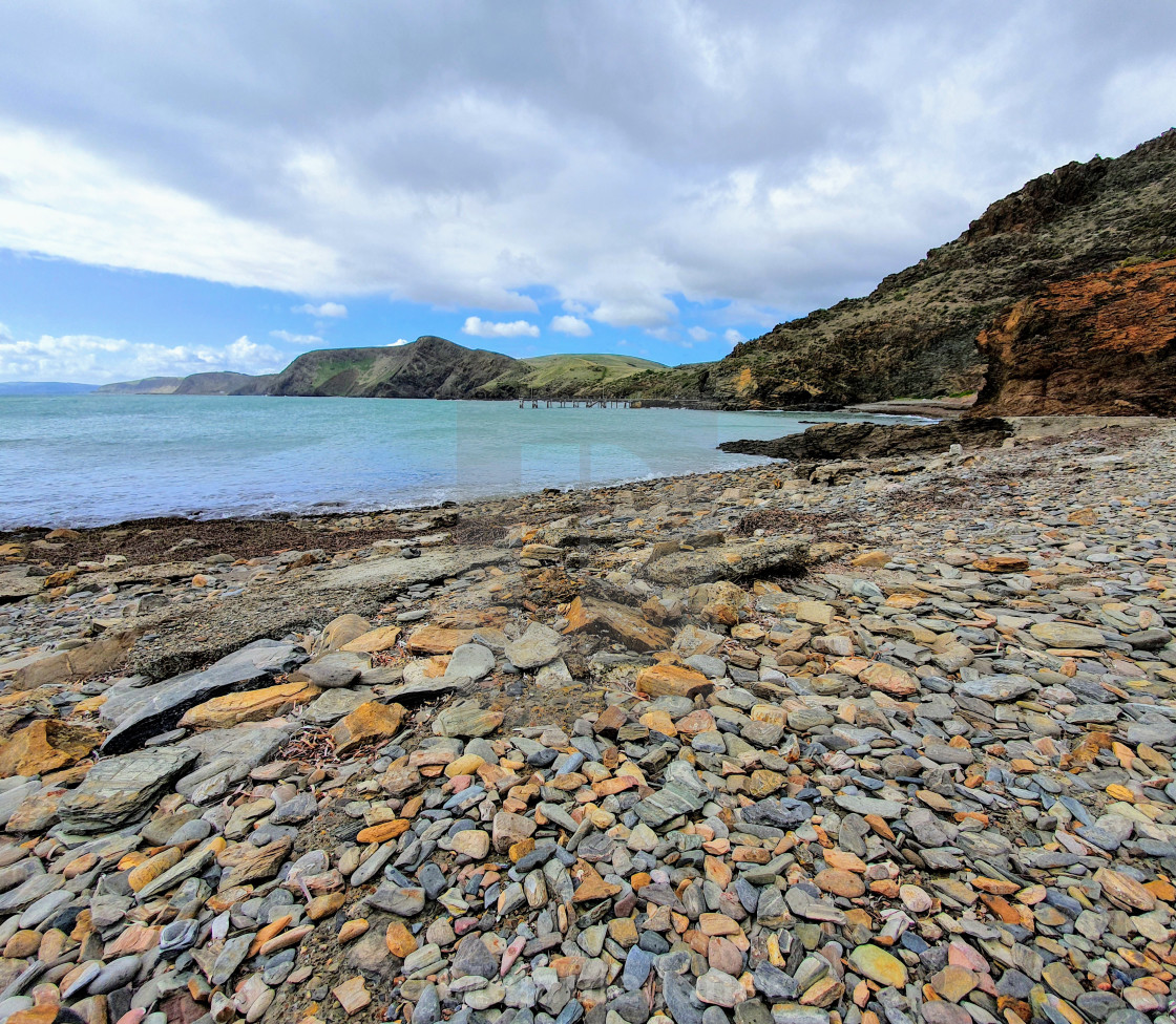 """Rocky beach Second Valley SA"" stock image"