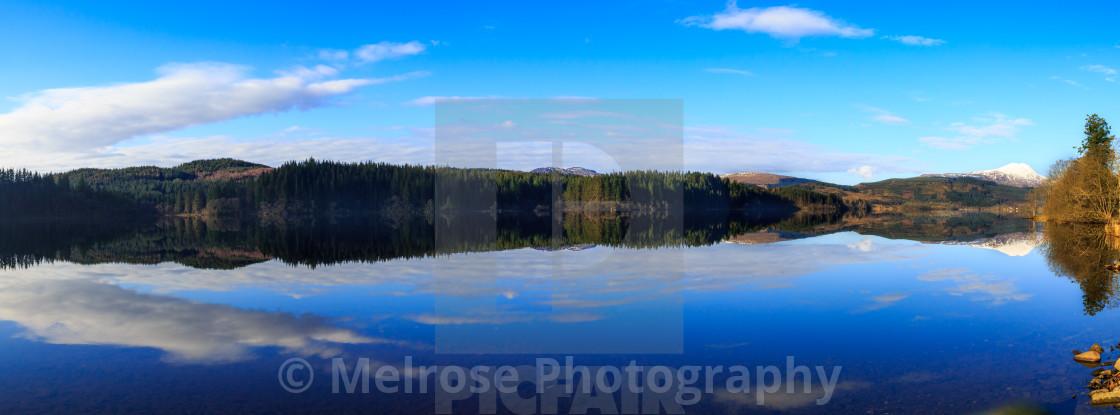 """Loch Ard Reflection Scotland"" stock image"