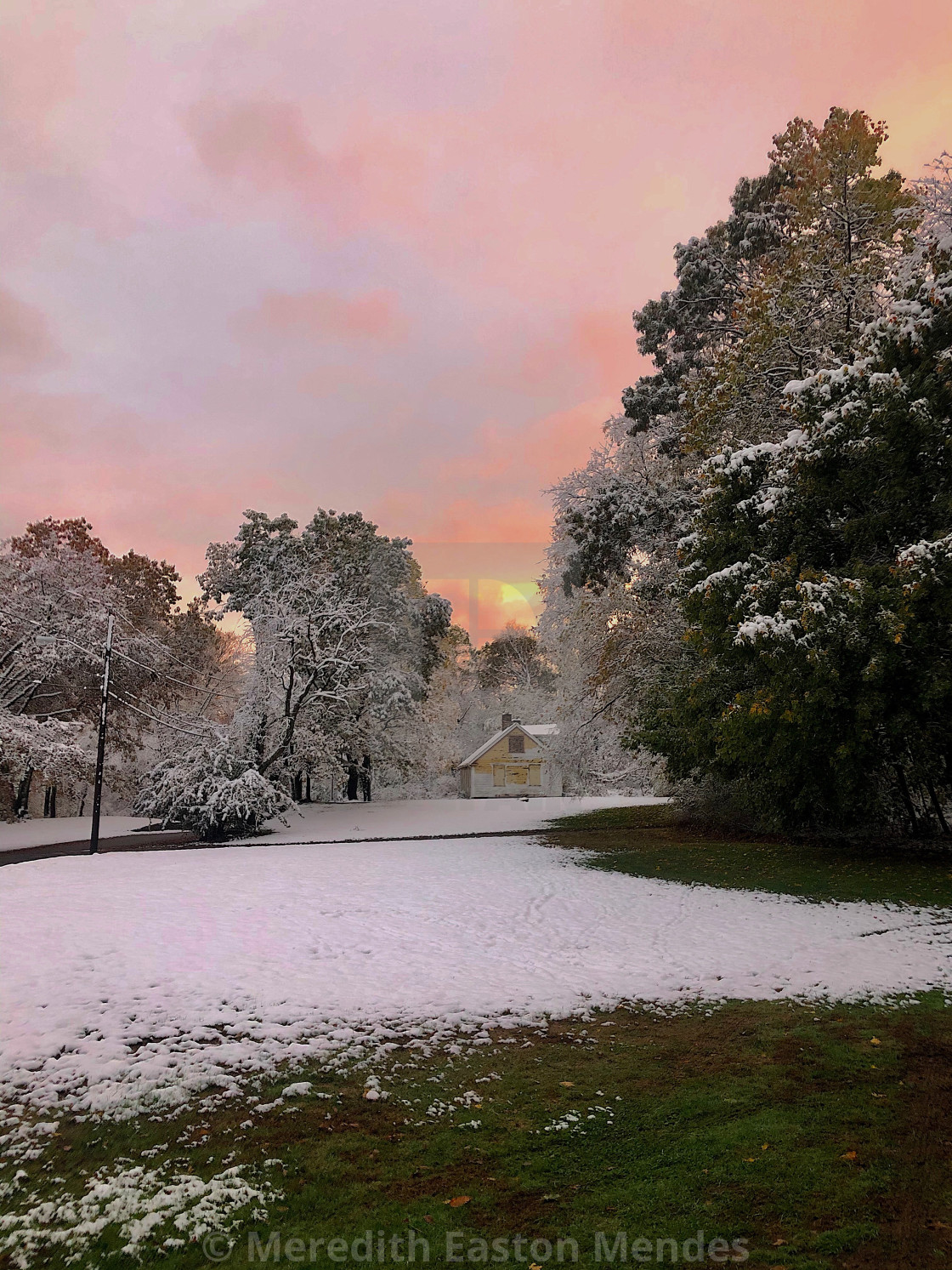 """""""Sunset Over Old Mill in Winter"""" stock image"""