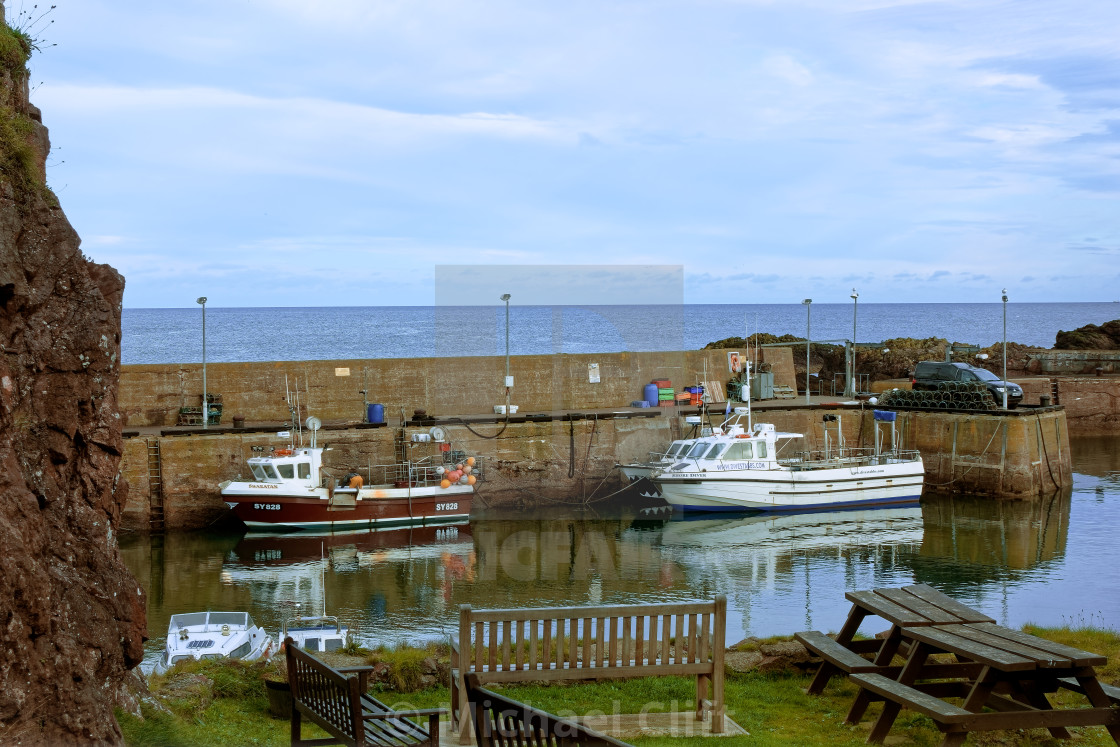 """""""St Abbs Harbour - Boats at Rest"""" stock image"""