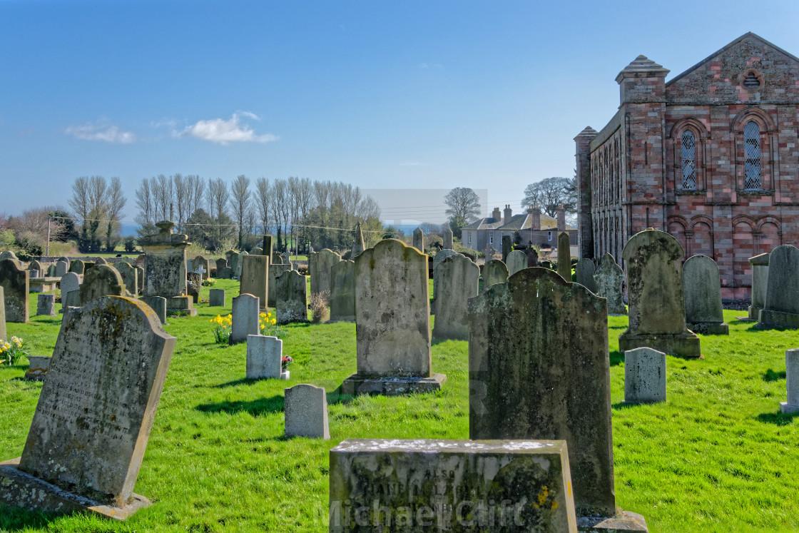 """Coldingham Priory Graveyard"" stock image"
