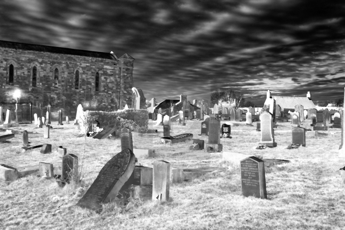 """""""The Priory and Graveyard."""" stock image"""