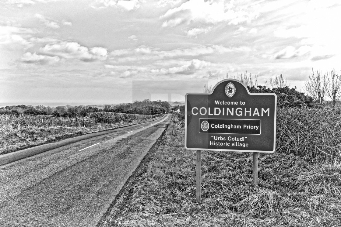 """""""Welcome to Coldingham"""" stock image"""