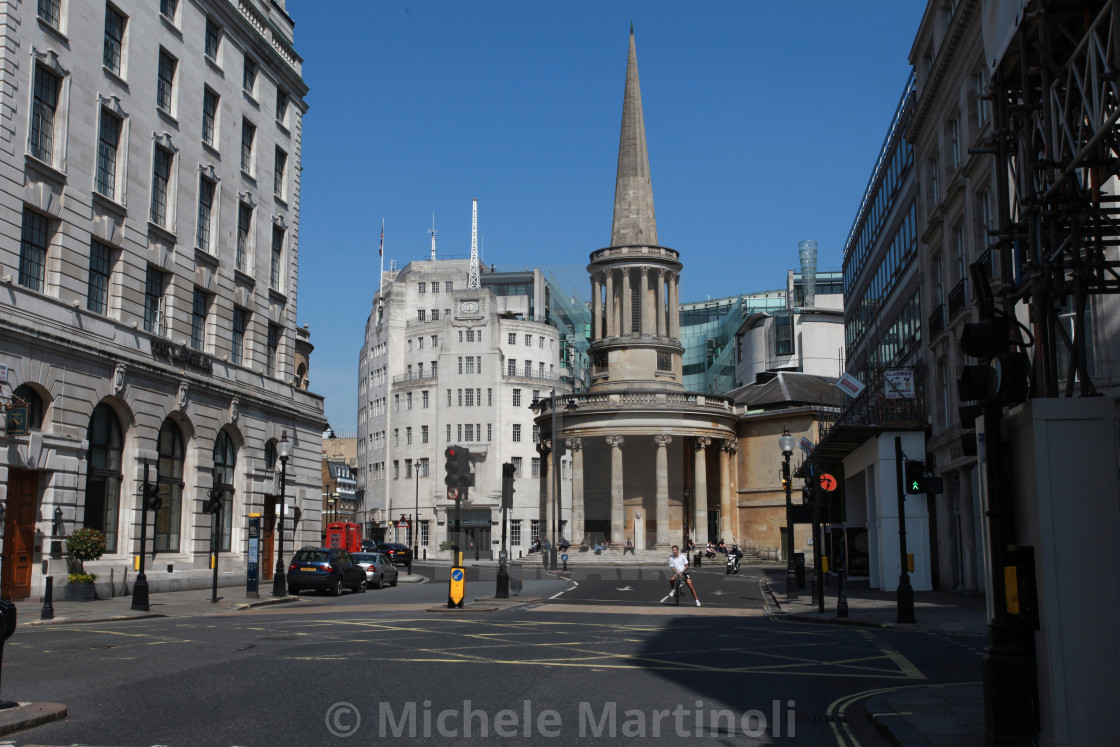 """All Souls Church and Broadcasting House"" stock image"
