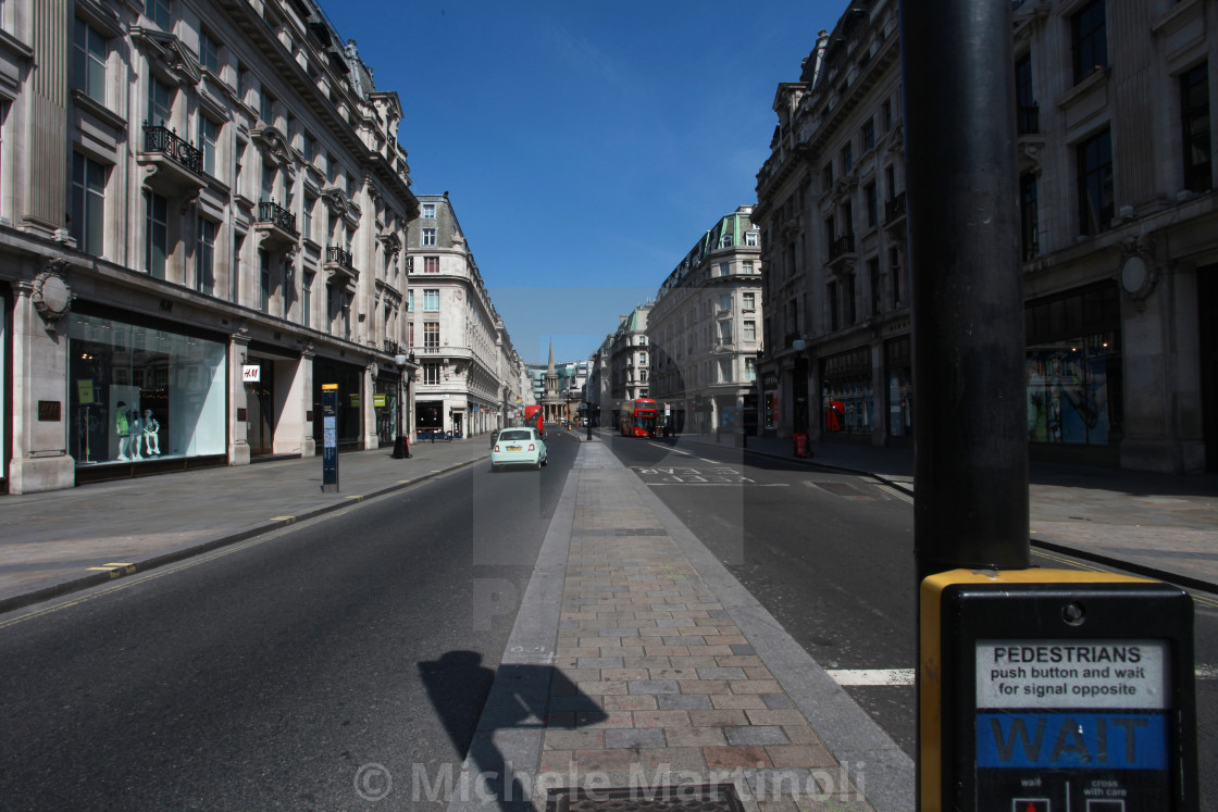 """View of Regent Street with buses during lockdown"" stock image"