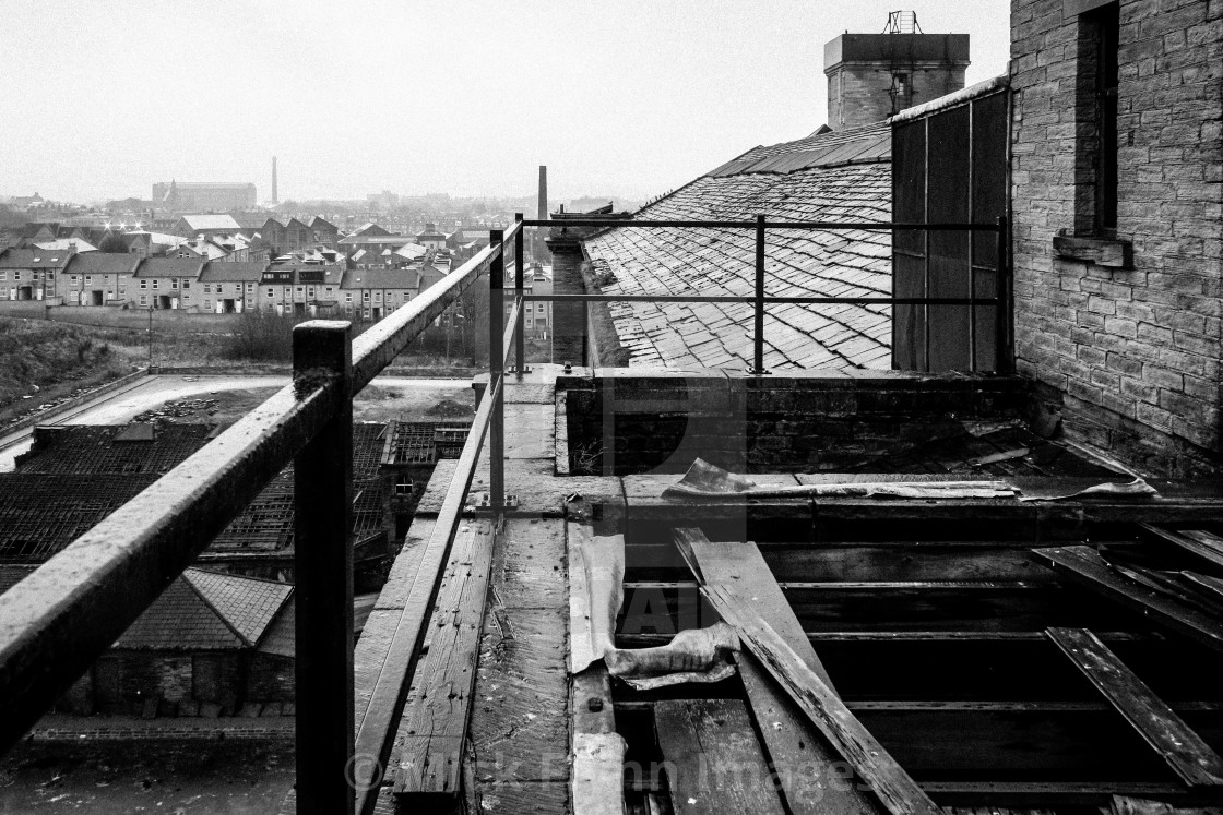 """""""A view from the rooftop of Daniel Illingworth's worsted spinning Mill, Thornton Road."""" stock image"""