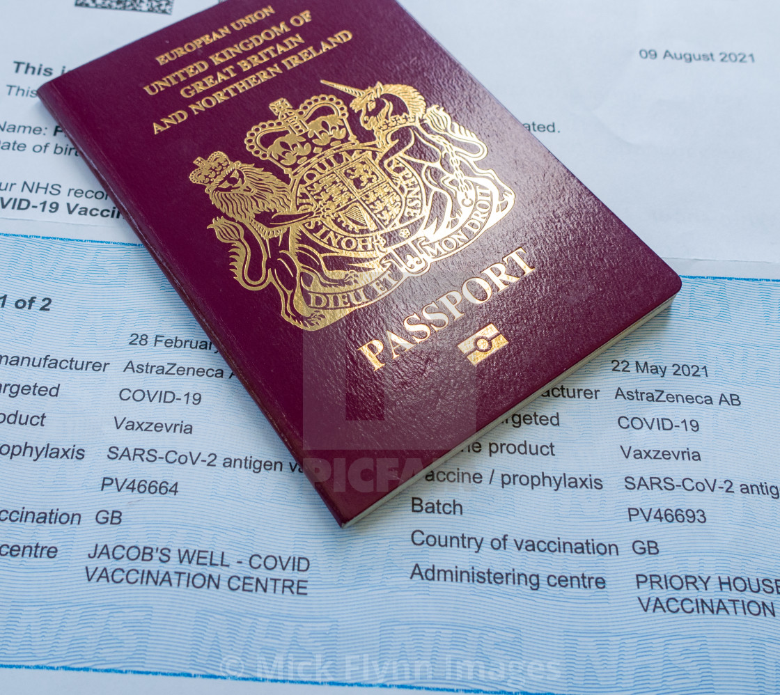 """""""NHS UK, proof of double vaccination document required for some travel abroad,..."""" stock image"""