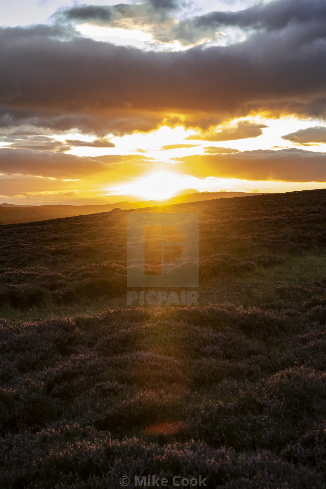 """Sunset over Ilkley"" stock image"