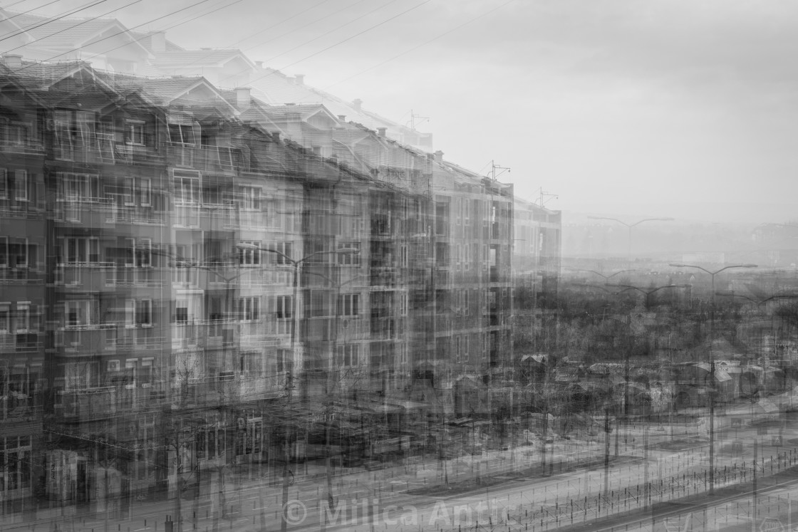 """Digital composite of urban area in black and white"" stock image"
