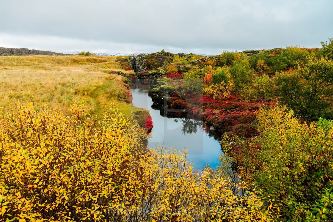 """Þingvellir in the colours of the fall"" stock image"