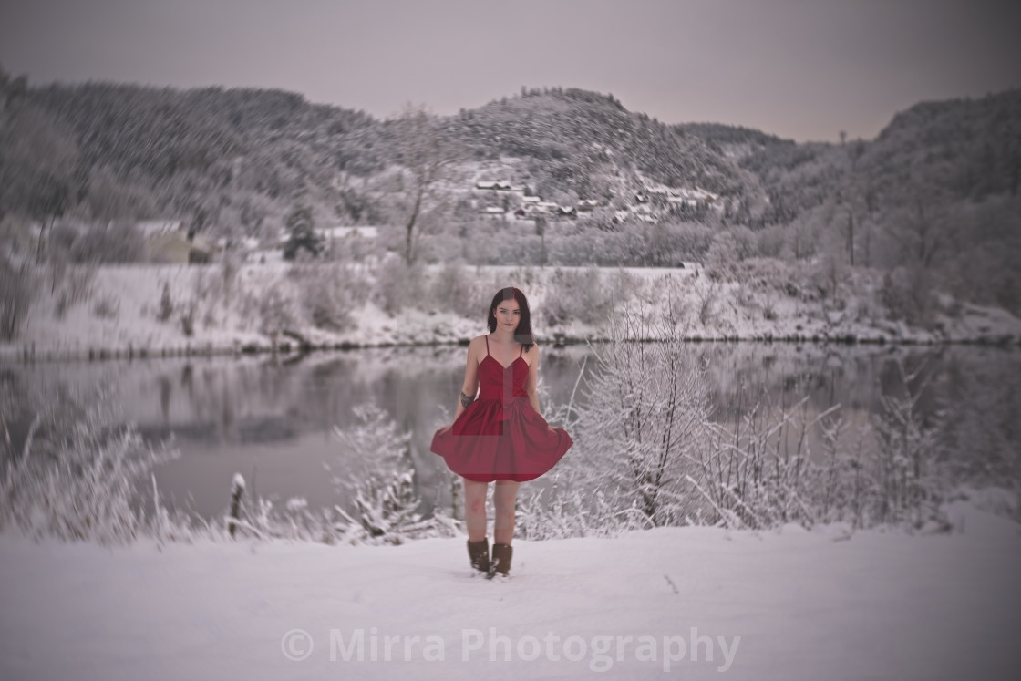 """In red dress in the winter"" stock image"