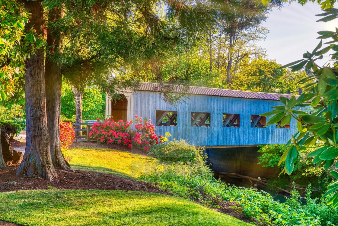 """Covered Bridge, Cottage Grove, Oregon"" stock image"