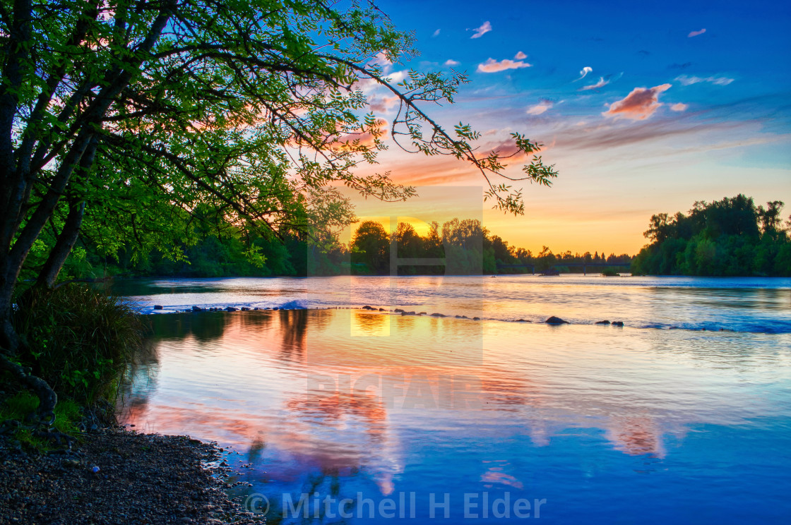 """""""Dusk on the Willamette River, Eugene, Oregon"""" stock image"""