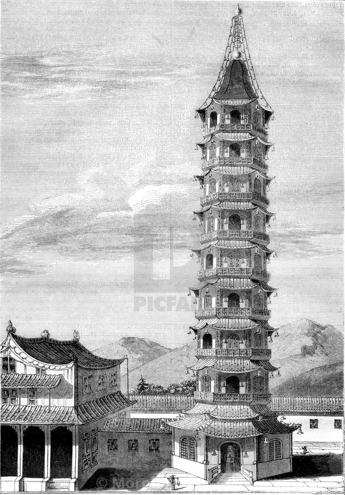 Porcelain Tower of Nanjing, vintage engraving. - License, download