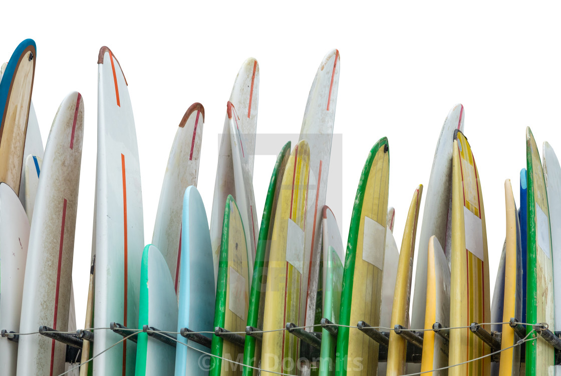 """""""A Rack Of Rental Surfboards"""" stock image"""