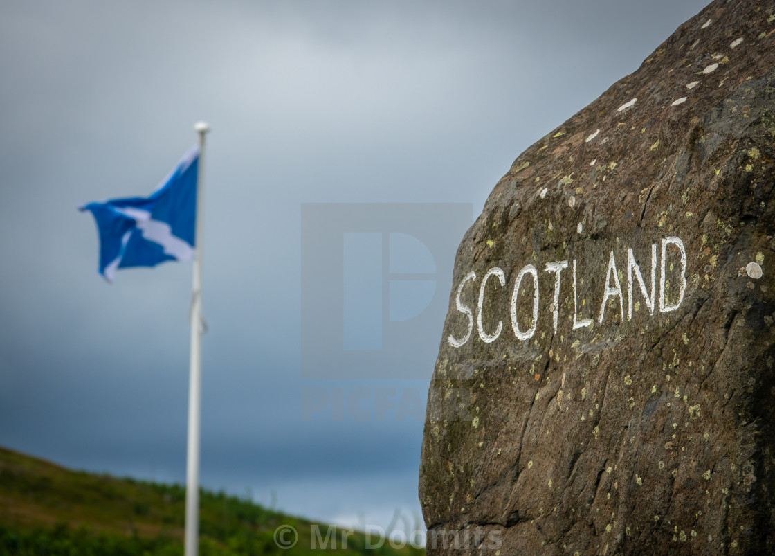 """Sign At The Scottish Border"" stock image"