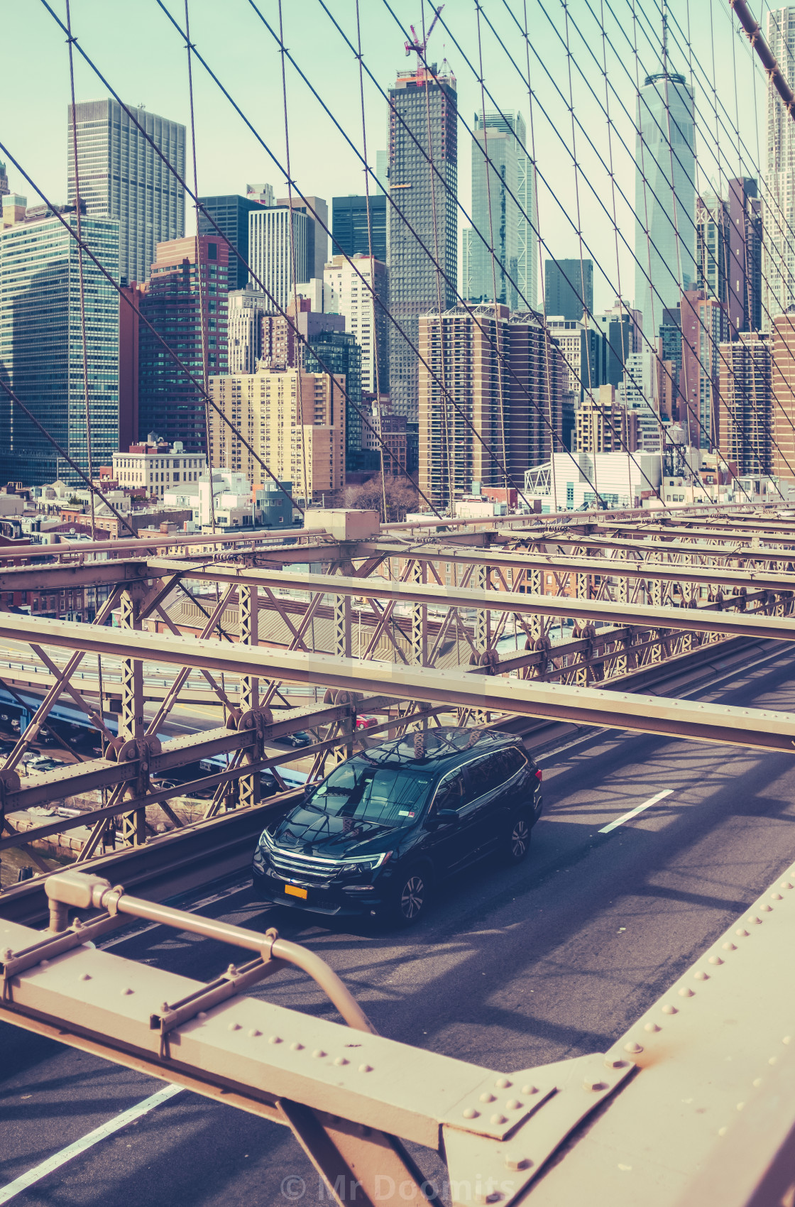 """Traffic On Brooklyn Bridge, NYC"" stock image"