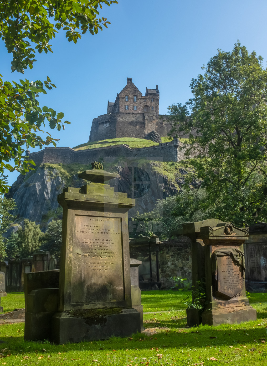 """Edinburgh Castle And Ancient Cemetery"" stock image"