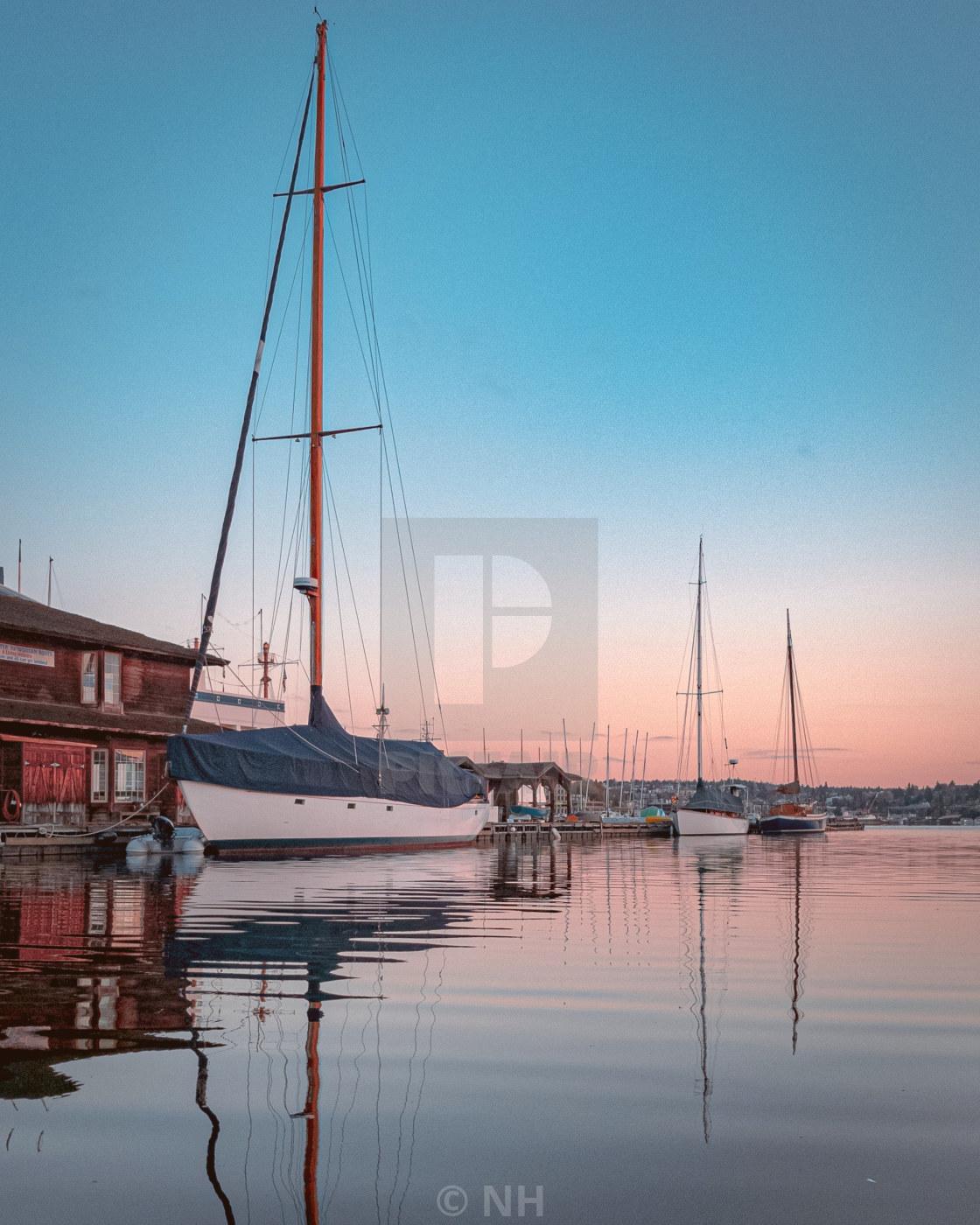 """""""Sailboat sunrise"""" stock image"""