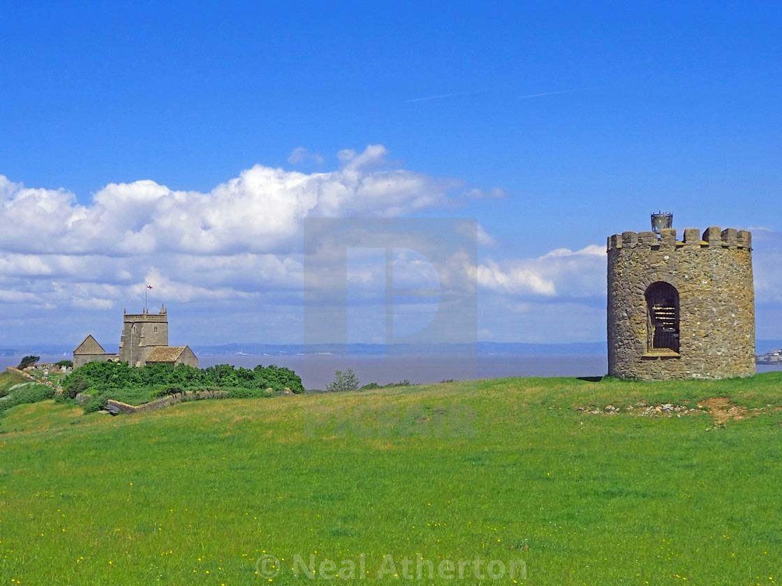 The tower and Church at Uphill Somerset