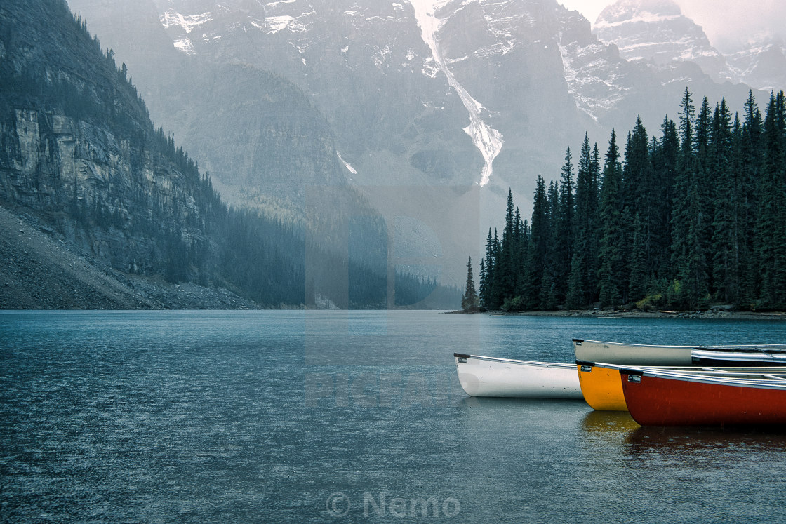 """Moraine lake / Lac Moraine"" stock image"