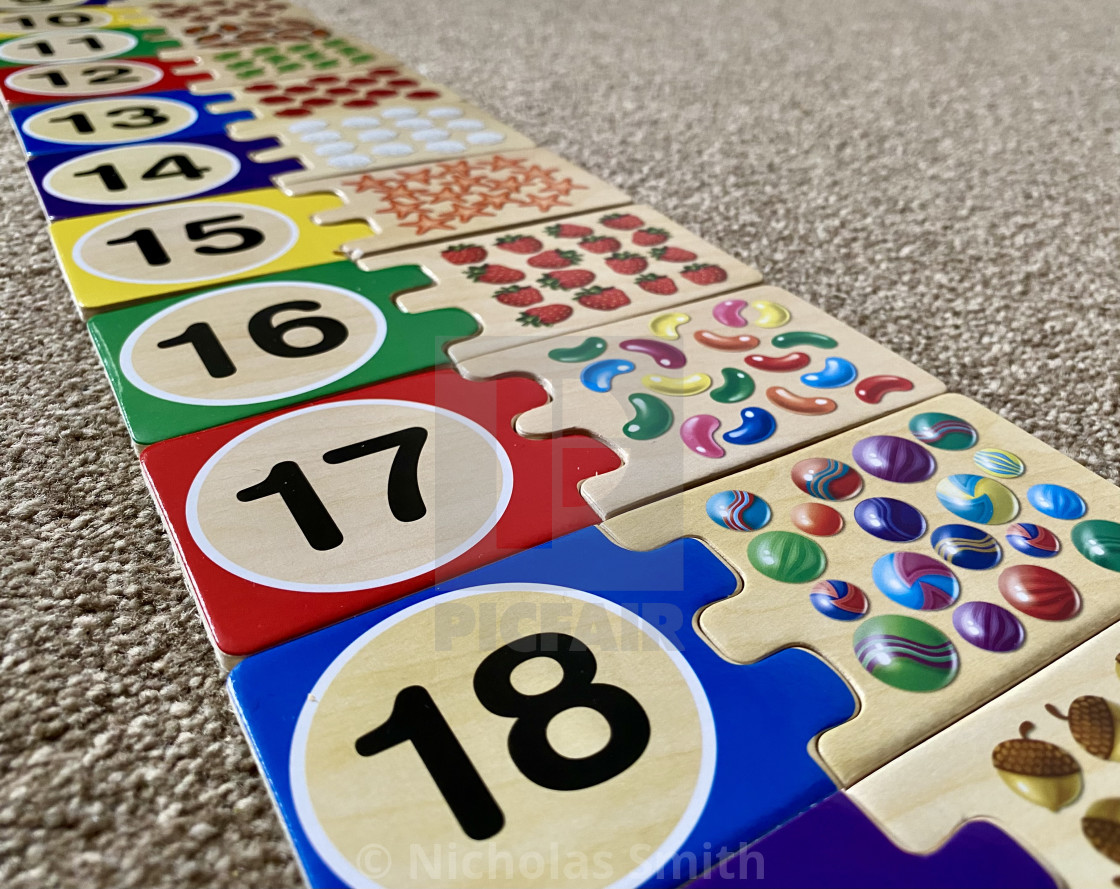 """""""Learning numbers wooden puzzle toy"""" stock image"""