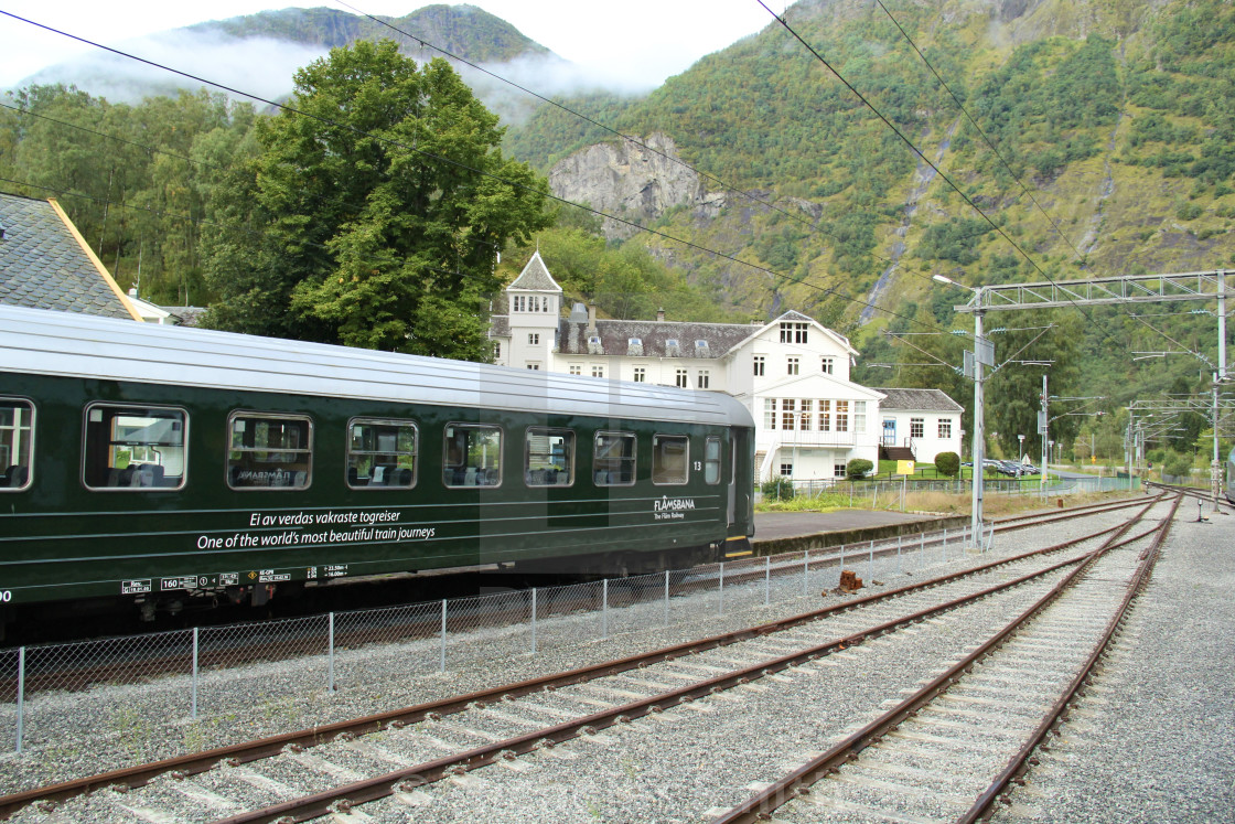"""""""Flam railway - Norway looking up the line"""" stock image"""