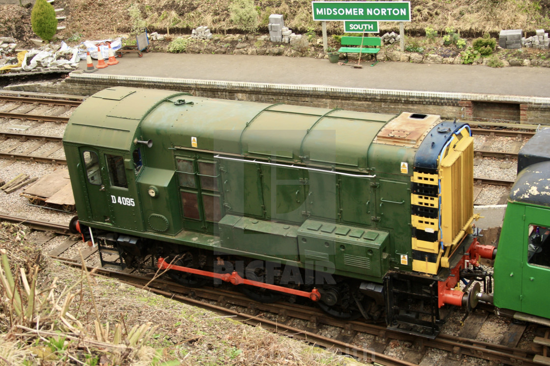 """Midsomer Norton - S&D heritage railway Diesel shunter"" stock image"